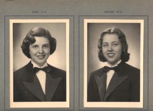 As alunas: (1) Blanche Elias e (2) Carmen Marília Ferreira Nogueira