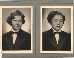 As alunas: (1) Annita Barbosa Sandoval, (2) Ayaka Fukushima