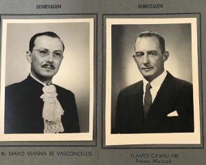 Os homenageados, (1) o médico Dr. Mário Vianna de Vasconcelos e (2) o prefeito Flávio Cavallari