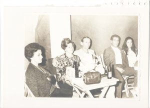 """Foto de 1964, de uma Festa da Cerveja em Ituverava.  (1) Geralda Trajano Borges, que casada  com José Francisco Borges (""""Zezeca Trajano""""), como o filho (2) e (3) José Francisco Borges  Júnior (""""Zé Preto"""")  e a noiva Guilhermina Ribeiro de Matos (""""Zizinha""""), (4) e (5) José Aquino  de Oliveira e Aparecida Alves de Oliveira"""