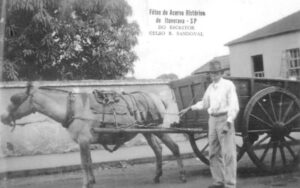 Foto de 1935, do sr. Florindo Pereira Souza, com um veículo (tração animal) de coleta de lixo da cidade. Na época eram cinco carroças que faziam o trabalho em Ituverava