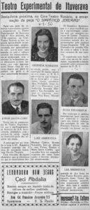 """Ituveravenses que em 1.950 encenaram a peça """"O Simpático Jeremias"""", no Cine Teatro Rosário. (1) Arminda Marques, (2) Jorge Jacob Cury, (3) Luiz Amêndola, (4) Elias Mirândola e (5) Léa Amêndola"""